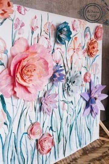 decoracion de fiestas con flores de papel y pintura