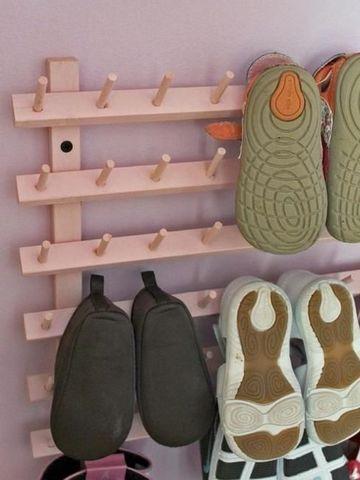 estantes para zapatos de madera para espacios pequeños