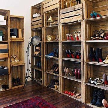 estantes para zapatos de madera rusticos