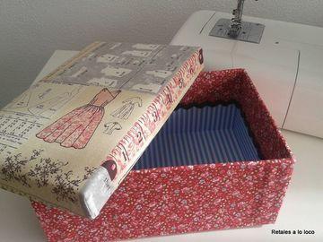 forrar cajas de carton con tela con tapa