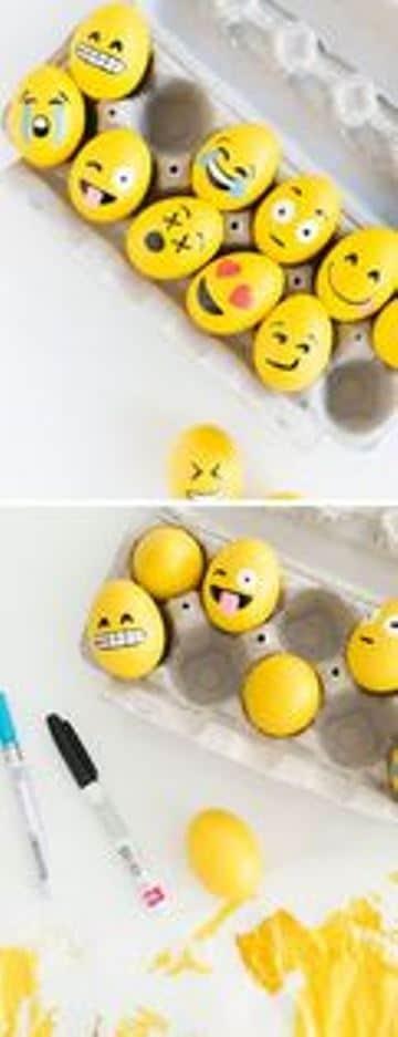 ideas para decorar huevos de pascua emojis