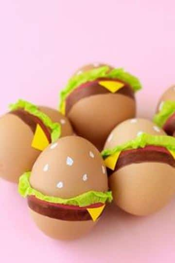 ideas para decorar huevos de pascua hamburguesa