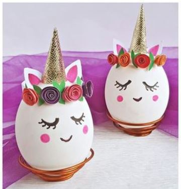 ideas para decorar huevos de pascua unicornio