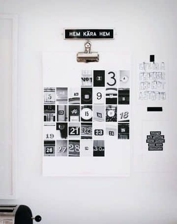 ideas para hacer un calendario blanco y negro
