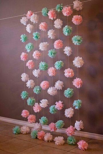 pompones de papel barrilete cortina