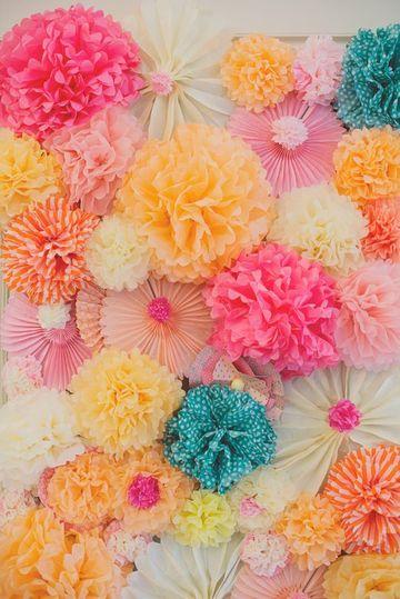 pompones de papel barrilete para fiestas
