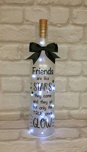 regalos con botellas de vidrio con luces
