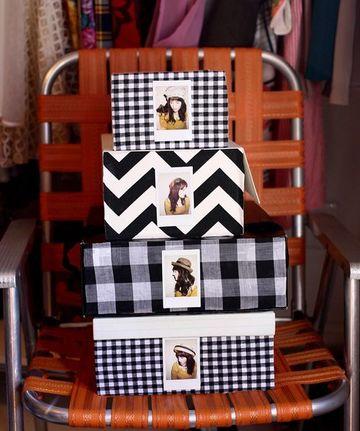 cajas decoradas con tela para la habitacion