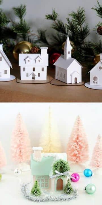 casas para armar de papel en navidad