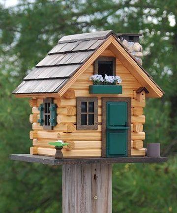 casitas de madera para pajaros de jardin