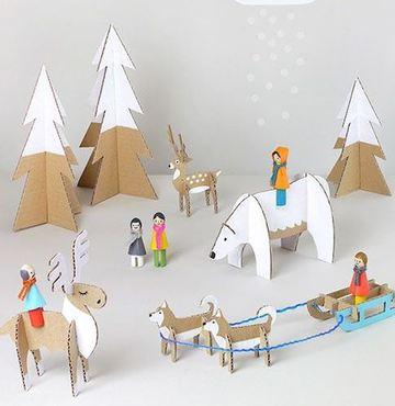 como hacer muñecos de carton para navidad