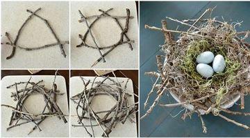 como hacer un nido de pajaro con ramas