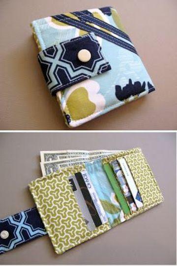 como hacer una billetera de tela con compatimientos