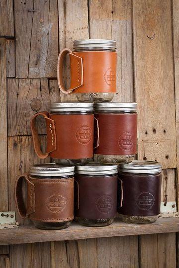 manualidades con  frascos  de cafe con cuero