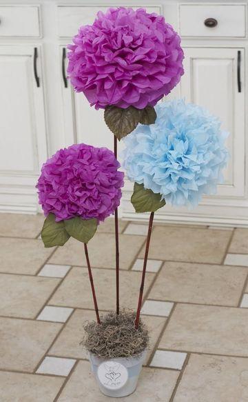 adornos con papel de seda florales
