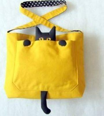 bolsos de tela para niñas de gato escondido
