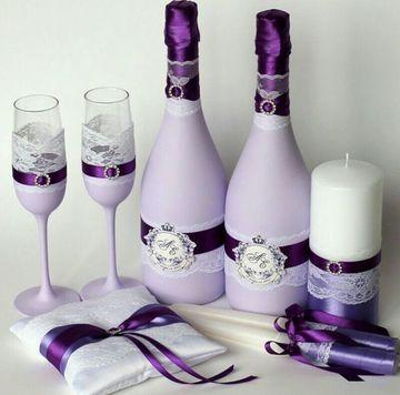 botellas decoradas para matrimonio con copas y accesorios