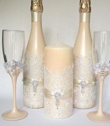 botellas decoradas para matrimonio con encajes