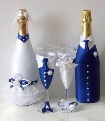 botellas decoradas para matrimonio vestidas de novios