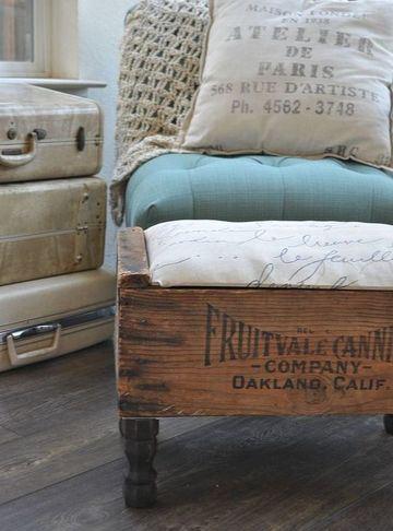 cajas de madera recicladas en mueble vintage