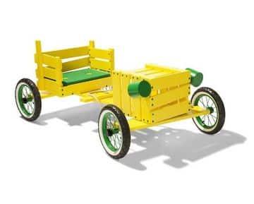 carros de reciclaje para niños con madera