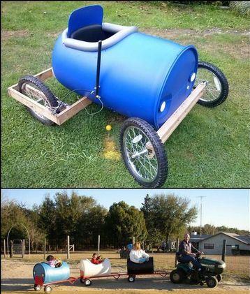 carros de reciclaje para niños con pote de basura