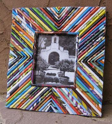 como hacer portaretratos de papel de revistas