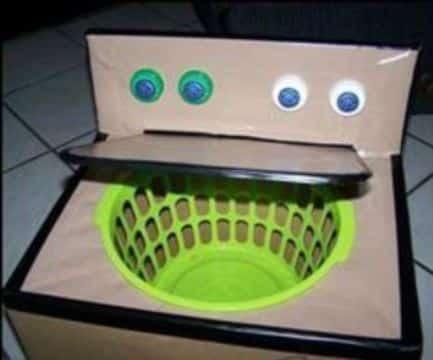 juguetes reciclados de carton tipo lavadora