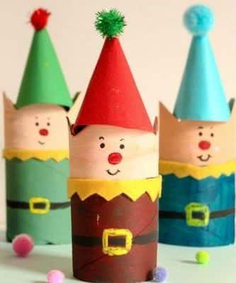 manualidades con rollos de carton para navidad