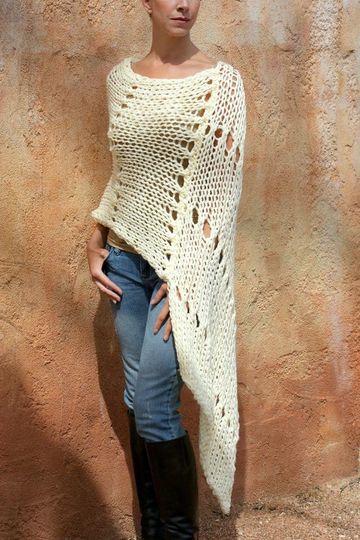 modelos de ponchos tejidos elegantes