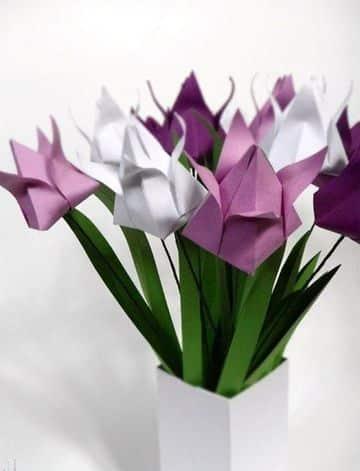 origami para el dia de la madre tulipanes