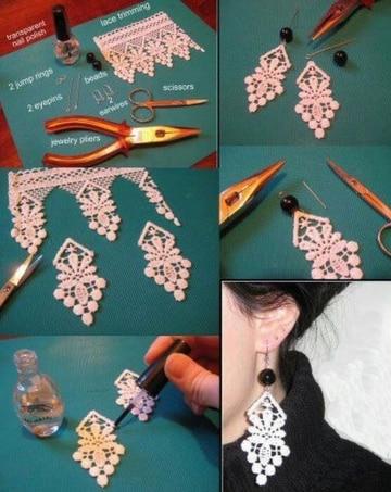 como hacer aretes de moda con encaje y esmalte