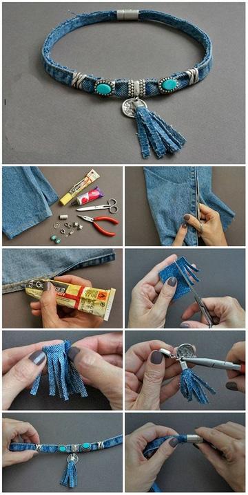 como hacer collares de tela de jeans