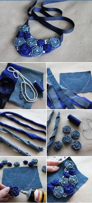 como hacer collares de tela reciclada