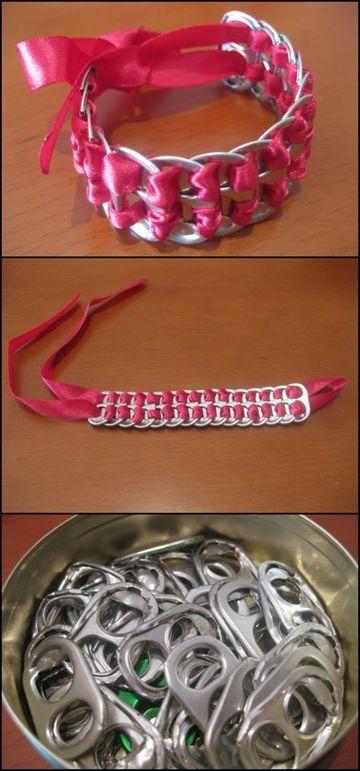 como hacer pulseras recicladas con latas de refrescos