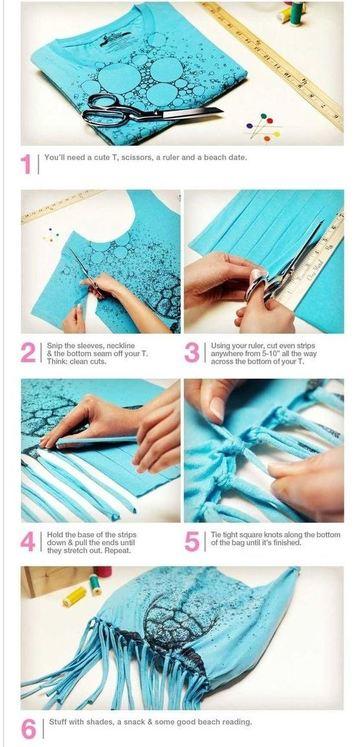 como hacer un bolso playero con una franela