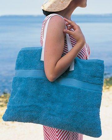 como hacer un bolso playero con una toalla