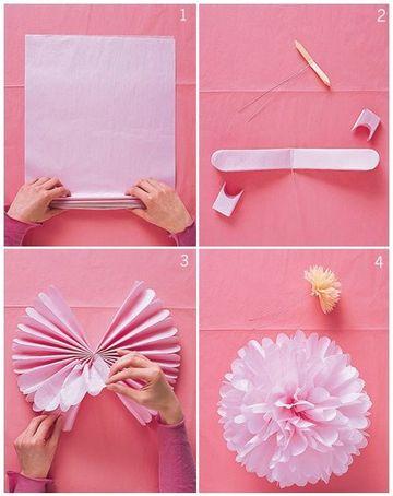 como hago flores de papel con papel de seda