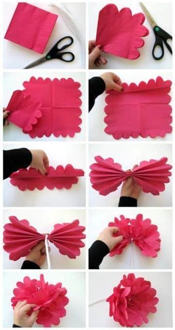 como hago flores de papel faciles y rapidas