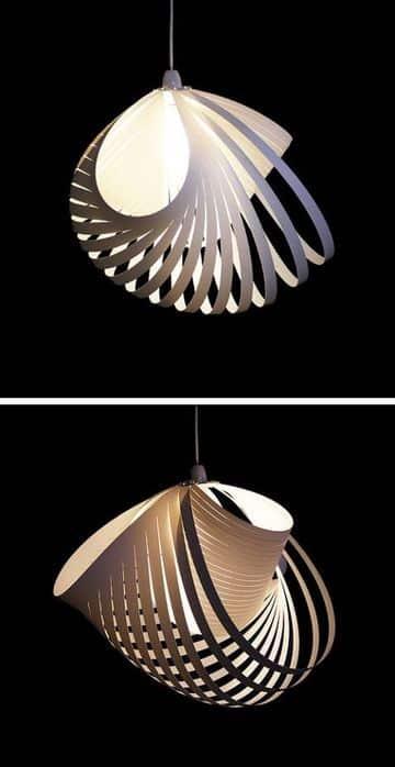 lamparas colgantes de papel en forma geometrica