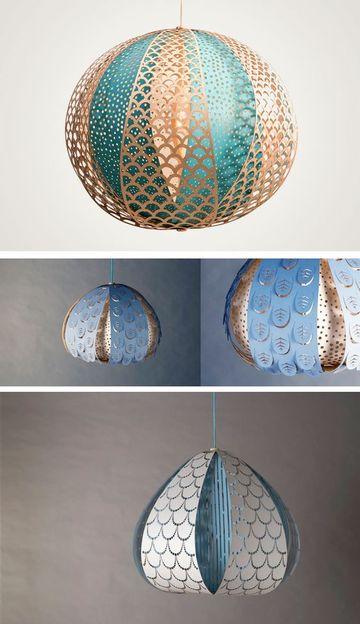 lamparas colgantes de papel hecha con globo