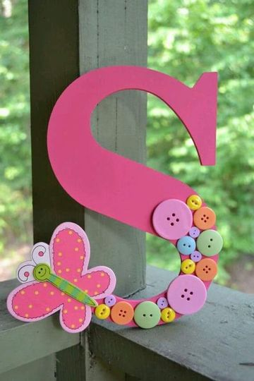 letras de madera infantiles decoradas para niñas