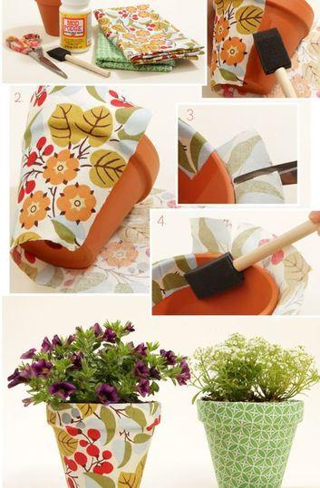 como hacer macetas decoradas con tela