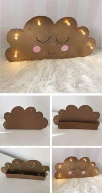 como hacer nubes de carton con luces