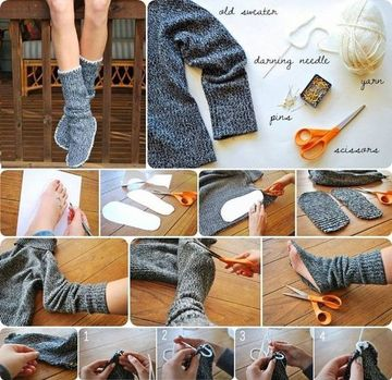 como hacer pantuflas de tela con la manga de un sweter