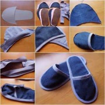como hacer pantuflas de tela de jean