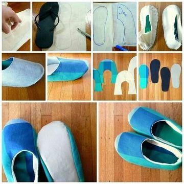 como hacer pantuflas de tela paso a paso