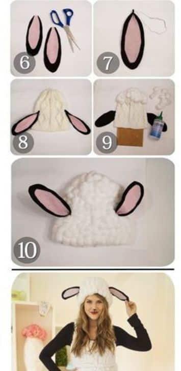 como hacer un disfraz de borrego con gorro