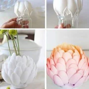 como hacer un florero reciclable con cucharas desechables