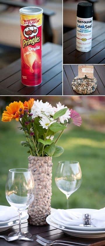 como hacer un florero reciclable con envase de papas fritas